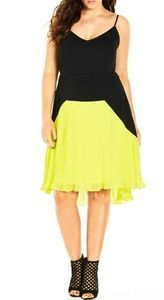 City Chic pleted hi lo dress